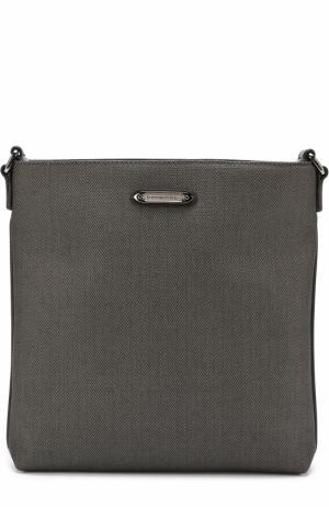 Сумка-планшет с внешним карманом на молнии и отделкой из натуральной кожи Ermenegildo Zegna. Цвет: темно-серый