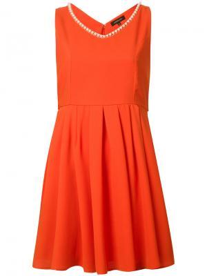 Платье с плиссировкой Loveless. Цвет: красный