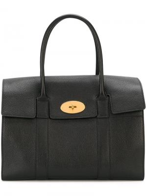 Средняя сумка-тоут с золотистой фурнитурой Mulberry. Цвет: чёрный
