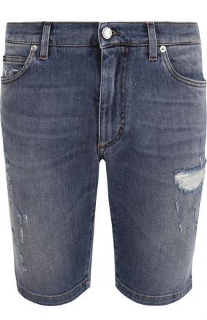 Джинсовые шорты с потертостями Dolce & Gabbana. Цвет: синий
