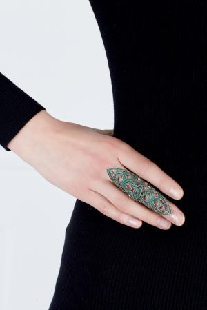 Кольцо Дюльбер Axenoff Jewellery. Цвет: зеленый, серебряный