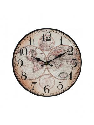 Часы настенные Карта мира, диаметр 34 см (133-CL) Белоснежка. Цвет: бледно-розовый, светло-бежевый