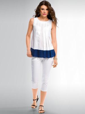 Блузка PELICAN. Цвет: белый, синий