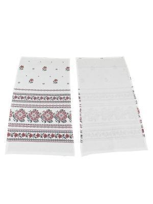 Набор полотенец Рогожка Римейн. Цвет: белый, коричневый