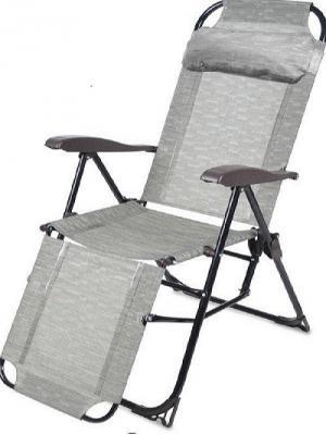 Кресло-шезлонг складное, с подножкой, Nika. Цвет: светло-бежевый