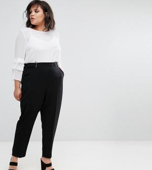 Elvi Черные брюки с пряжкой. Цвет: черный
