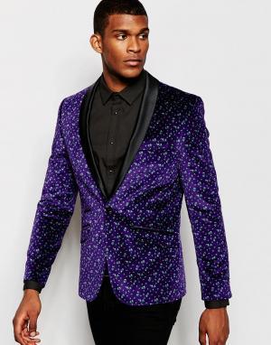Red Eleven Бархатный пиджак с узором. Цвет: фиолетовый