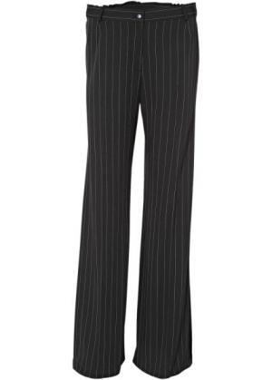 Широкие брюки стретч (черный/белый в полоску) bonprix. Цвет: черный/белый в полоску