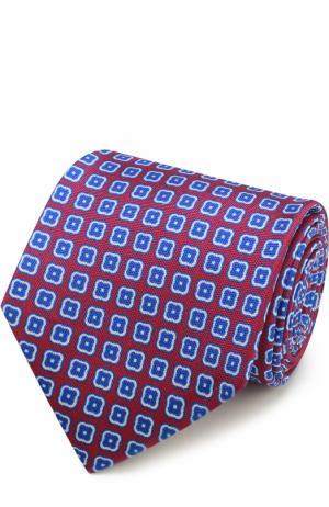 Шелковый галстук с узором Kiton. Цвет: малиновый
