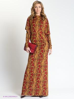 Платье МадаМ Т. Цвет: коричневый, бежевый, красный