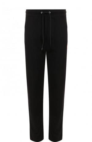 Хлопковые брюки прямого кроя с поясом на кулиске Dirk Bikkembergs. Цвет: черный
