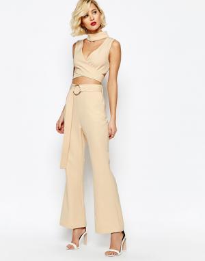 Lavish Alice Расклешенные oversize-брюки с D-образной пряжкой на поясе. Цвет: розовый