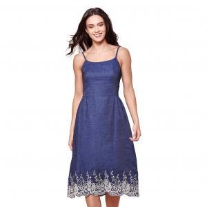 Платье длинное с тонкими бретелями из кружева, 100% хлопок YUMI. Цвет: темно-синий