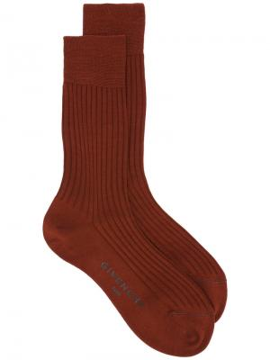 Классические носки в рубчик Givenchy. Цвет: коричневый