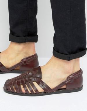 ASOS Бордовые кожаные сандалии с плетеной отделкой. Цвет: красный