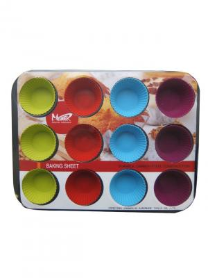 Набор: форма для пирога с антипригарным покрытием, 12 силиконовых форм маффинов МФК. Цвет: синий, красный, светло-зеленый