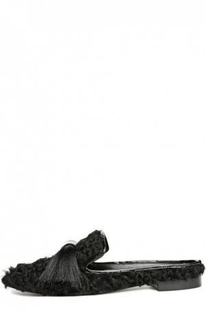 Меховые домашние туфли Maestro с кисточками Aleksandersiradekian. Цвет: черный