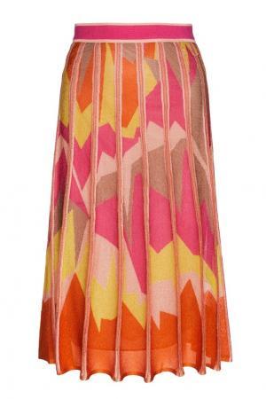 Комбинированная юбка M Missoni. Цвет: коралловый, желтый, розовый