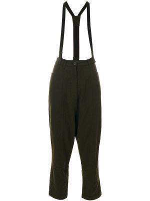 Укороченные строгие брюки с подтяжками Rundholz Black Label. Цвет: зелёный