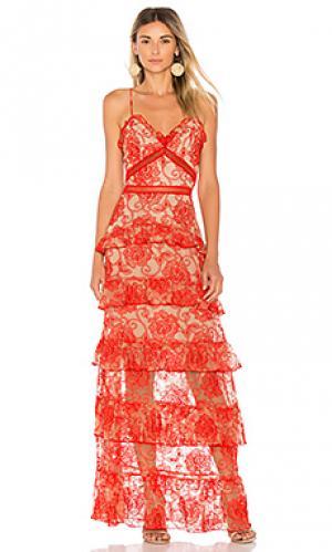 Ярусное вечернее платье rosie NICHOLAS. Цвет: красный