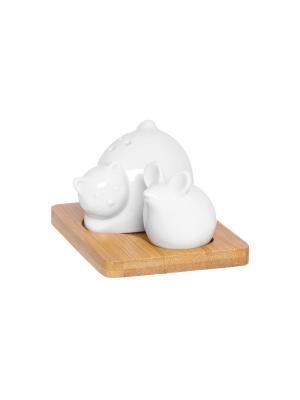 Набор для специй Кот и мышка Elan Gallery. Цвет: белый