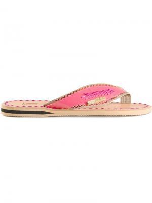 Флип-флопы с плетёной деталью Liwan. Цвет: розовый и фиолетовый