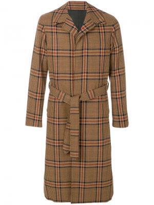Пальто в клетку Ami Alexandre Mattiussi. Цвет: коричневый