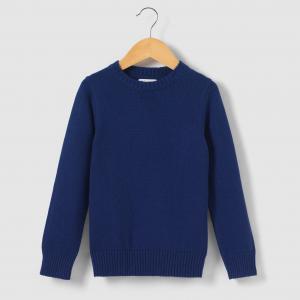 Пуловер однотонный с круглым вырезом 3-12 лет R essentiel. Цвет: синий