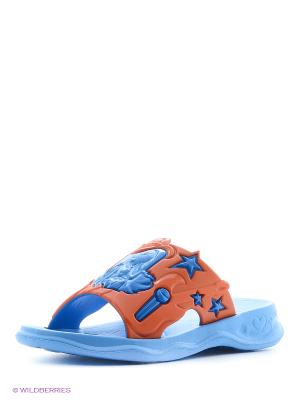 Шлепанцы Дюна. Цвет: голубой, оранжевый