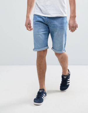Esprit Светло-синие выбеленные джинсовые шорты с отворотами. Цвет: синий