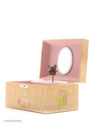 Музыкальная шкатулка с фигуркой в форме прямоугольника Jakos. Цвет: желтый, белый, светло-коричневый, розовый