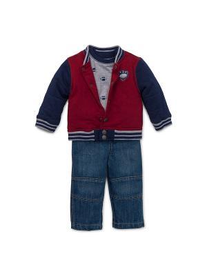 Комплект из 3-х предметов Звезда бейсбола Little Me. Цвет: синий, серый, красный