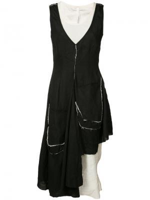 Асимметричное платье с необработанными краями Barbara I Gongini. Цвет: чёрный