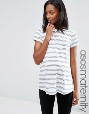 ASOS Maternity Полосатая футболка для беременных с круглым вырезом. Цвет: серый