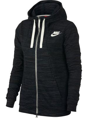 Толстовка W NSW GYM CLC HOODIE FZ 2 Nike. Цвет: черный