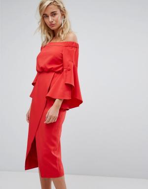 Lavish Alice Платье миди с открытыми плечами и оборками на рукавах. Цвет: красный