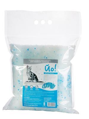 Силикагелевый наполнитель для кошачьего туалета Йо!,Кристал 8л Йо!. Цвет: синий, прозрачный