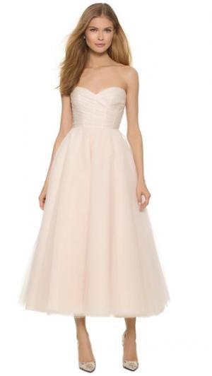 Платье ниже колен Sloane без бретелек Monique Lhuillier. Цвет: камея