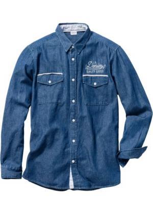 Джинсовая рубашка Regular Fit с длинным рукавом (синий) bonprix. Цвет: синий