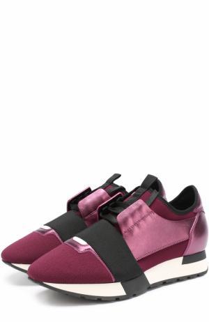 Комбинированные кроссовки Race с эластичной лентой Balenciaga. Цвет: бордовый