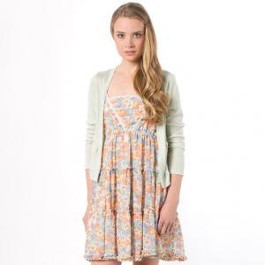 Платье с цветочным рисунком и однотонный кардиган MOLLY BRACKEN. Цвет: бирюзовый