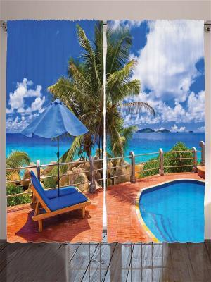 Комплект фотоштор Голубой бассейн, 290*265 см Magic Lady. Цвет: бежевый, оранжевый, черный, синий, зеленый, голубой