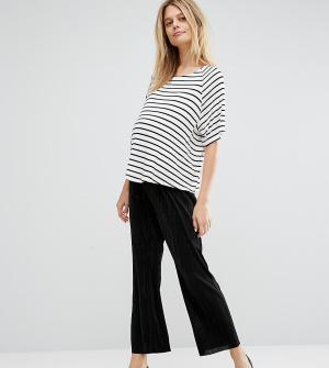 ASOS Maternity Укороченные широкие брюки плиссе для беременных. Цвет: черный