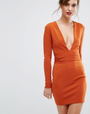 Bec & Bridge Платье с длинными рукавами и поясом India Rosa. Цвет: оранжевый
