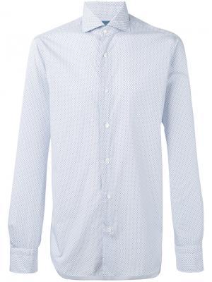 Рубашка с узором Barba. Цвет: белый