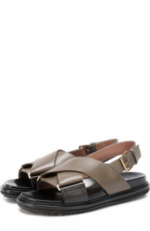 Кожаные сандалии Fussbett с ремешками Marni. Цвет: хаки