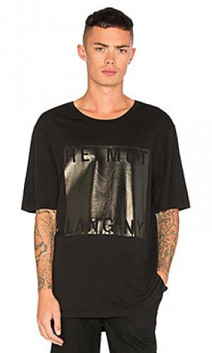 Прямая футболка с принтом из фильма Helmut Lang. Цвет: черный