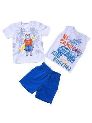 Костюм Николос (майка, футболка, шорты) IVASHKA. Цвет: синий, белый