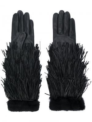 Перчатки с меховой отделкой Agnelle. Цвет: чёрный