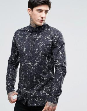 Dr Denim Черная рубашка слим с принтом Jonathan. Цвет: черный